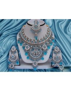 Parure Bijoux indiens Argenté Turquoise offre spéciale  - 1