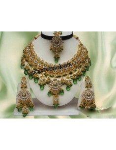 Parure bijoux indiens Doré Vert offre spéciale  - 1