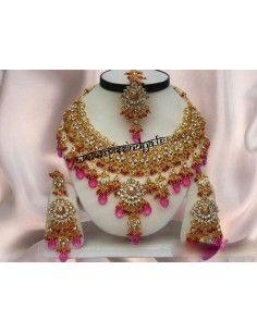 Parure Bijoux indiens Doré Rose offre spéciale  - 1