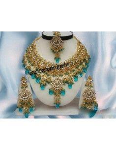 Parure bijoux indiens Doré Bleu Turquoise offre spéciale  - 1