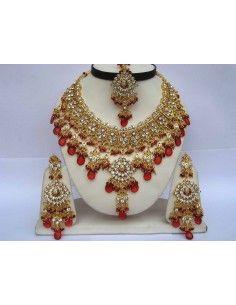 Parure Bijoux indiens Doré Rouge offre spéciale  - 1