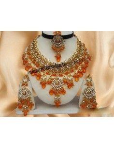 Parure Bijoux indiens doré Orange offre spéciale  - 1