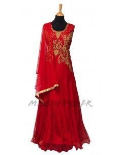 Robe indienne de Soirée Salmaa Rouge  - 1