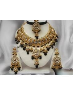 Parure bijoux indiens doré Noire offre spéciale  - 1