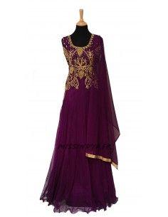 Robe indienne de Soirée Salmaa Prune  - 1