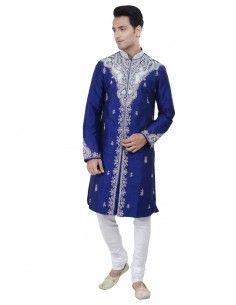 Sherwani Kurta Homme Rahul Bleu  - 1