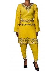 tenue indienne Salwar Kameez ines jaune et argenté  - 1