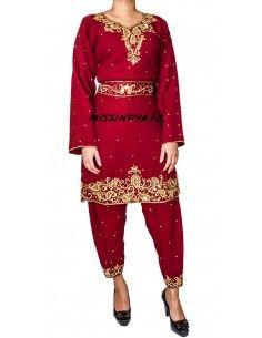 Robe indienne Salwar Kameez inaya rouge et dore  - 1