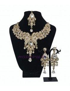 Parure bijoux indiensPaon doré et strass blanc bollywood  - 4