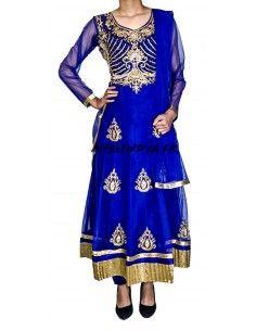 Robe indienne Salwar Kameez Preeti Bleu et dore  - 1