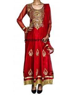 Robe indienne Salwar Kameez Preeti Rouge et dore  - 1