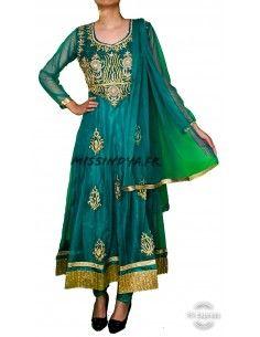 Robe indienne Salwar Kameez Preeti vert et dore  - 1