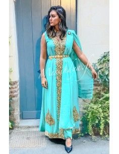 Robe indienne de Soirée bleu vert et dore  - 1