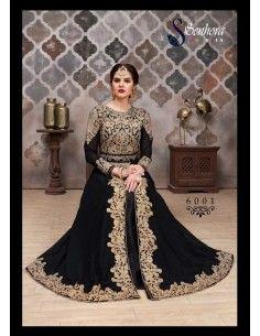 Robe indienne Brodé Haute Gamme AROMA Noir  - 1