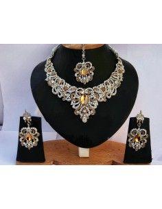 Parure Bijoux indiens Bollywood  ambre & Argenté  - 1