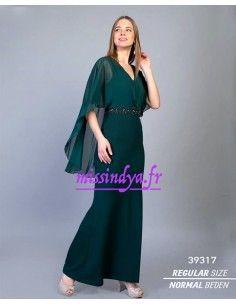 Robe indienne oriental de Soirée Strass Vert  - 1