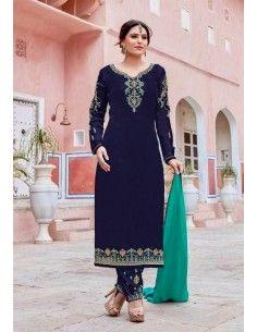 Salwar Kameez Varsha Bleu & Vert  - 1