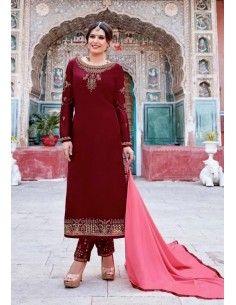 Salwar Kameez Varsha Rouge  - 1