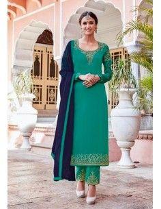 Salwar Kameez Varsha Vert & Bleu  - 1