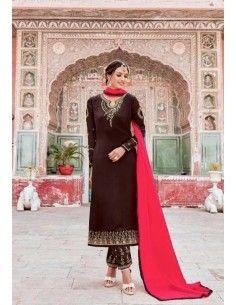 Salwar Kameez Varsha Marron & rose  - 1