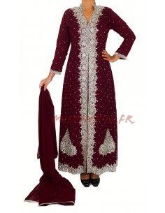Robe indienne de Soirée Perlé strass argenté et bordeaux  - 1