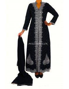 Robe indienne de Soirée Perlé strass argenté & noir  - 1