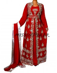 Tenue oriental style dubai rouge et argente  - 1