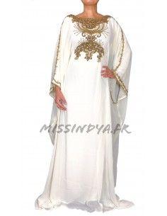 Robe de Dubai blanche Amina