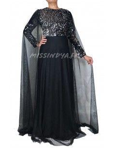 Robe indienne oriental de Soirée Strass argente pas cher Noir  - 1