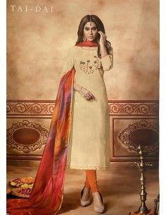 Salwar Kameez churidar sari tenue indienne Tadai beige  - 1