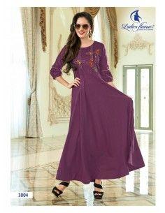 Tunique indienne Robe ethnique longue Miss gold violet  - 1