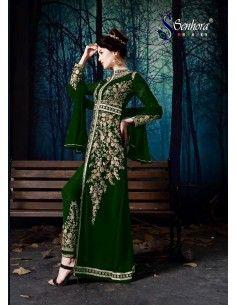 Robe indienne churidar Brodé Haute Gamme Malaika VERT  - 1