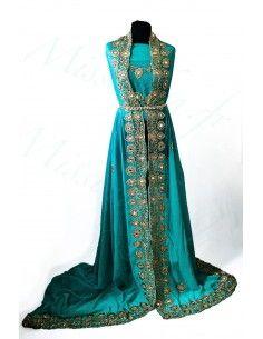 Tissus Sari turquoise luxe...