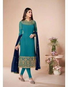 Robe indienne churidar anarkali Ashirward Bleu vert  - 1
