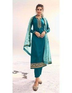 Tenue indienne salwar kameez churidar anarkali sanskruti bleu vert  - 1
