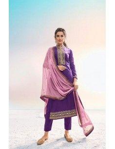 Tenue indienne salwar kameez churidar anarkali sanskruti violet  - 1