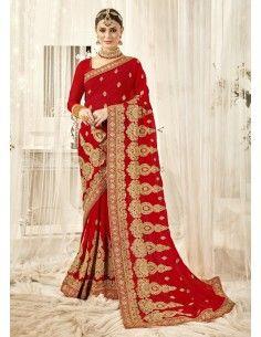 Sari rouge mariage amrita...