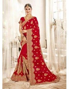 Sari rouge mariage amrita saree indien bollywood  - 1