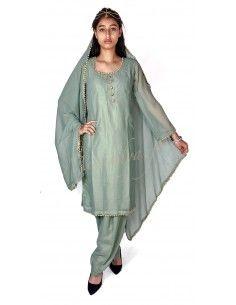 Robe indienne pas cher Vert pistache Nisha  - 1