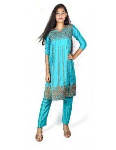 Tenue indienne fille salwar kameez churidar brodé bleu turquoise  - 1