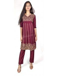 Tenue indienne fille salwar kameez churidar brodé bordeaux  - 1