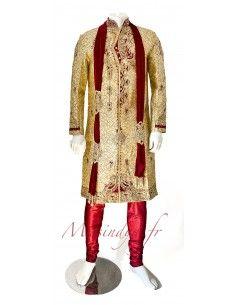 Sherwani Kurta Homme Pavitra haute gamme Beige Rouge  - 1