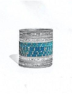Bangles Argenté et bleu turquoise  - 1