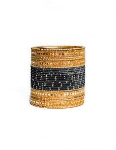Bangles Bracelets indiens doré et noir  - 1