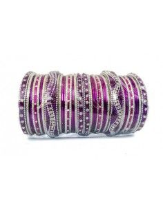 Bangles perlé violet &...
