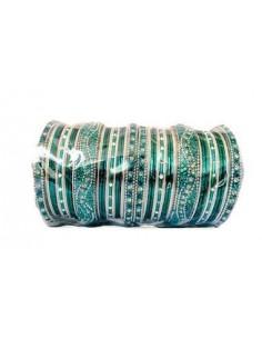 Bracelets perlé argenté et bleu vert GF  - 1