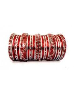 Bracelets indien perlé Rouge et Argenté  - 1