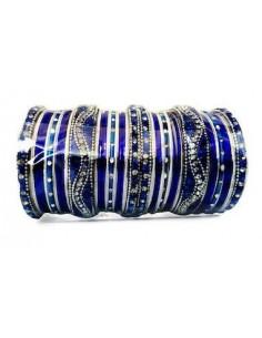 Bangles bracelets perlé argenté et bleu GF  - 1