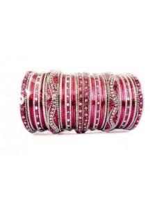 Bangles Bracelets indien perlé Rose et Argenté  - 1