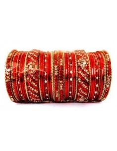 Bangles bracelets perlé rouge et doré GF  - 1